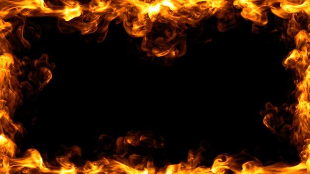 火フレームデザイン。 3dイラストレーション。 Premium写真