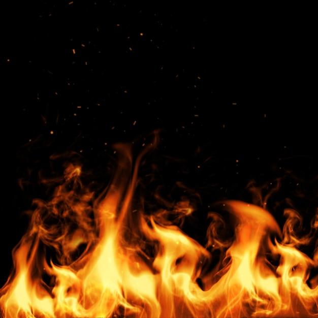 黒の火と火花。 3dイラストレーション。 Premium写真