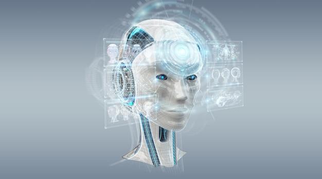 デジタル人工知能サイボーグインターフェース3dレンダリング Premium写真
