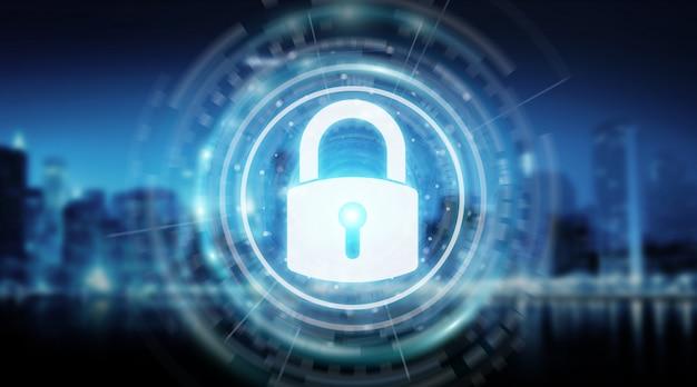 データ3dレンダリングを保護する南京錠セキュリティインターフェース Premium写真