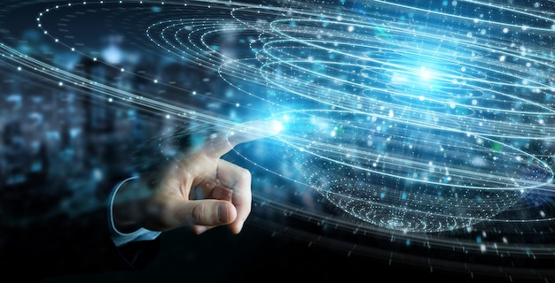 Бизнесмен с использованием цифровой сферы связи голограммы 3d-рендеринга Premium Фотографии