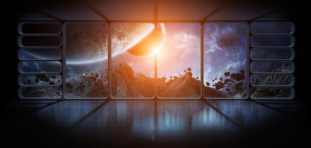 Просмотр планет из огромного окна космического корабля. 3d-рендеринг элементов этого изображения, представленных наса. Premium Фотографии