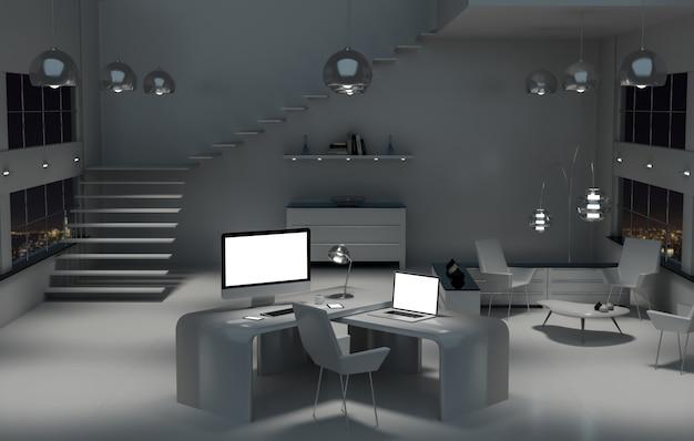 Современный темный стол офисный интерьер с компьютером и устройствами рендеринга 3d Premium Фотографии