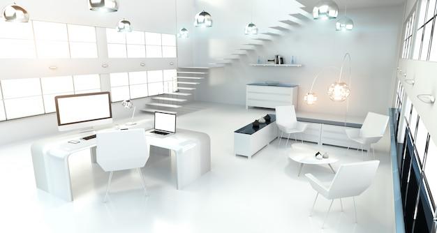 Современный белый интерьер офиса с компьютером и устройствами 3d-рендеринга Premium Фотографии