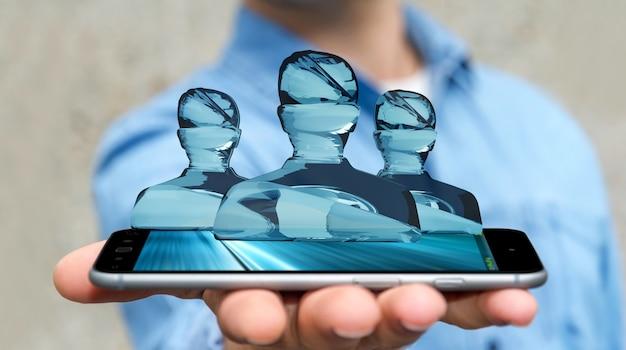 Бизнесмен с блестящей стеклянной группой аватаров по телефону 3d-рендеринга Premium Фотографии
