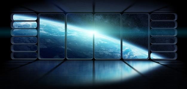 Вид на планету земля из огромного окна космического корабля. 3d-рендеринг элементов этого изображения, представленных наса. Premium Фотографии