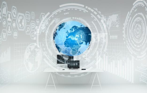 Рабочее место с современными устройствами и голограммными экранами 3d-рендеринга Premium Фотографии