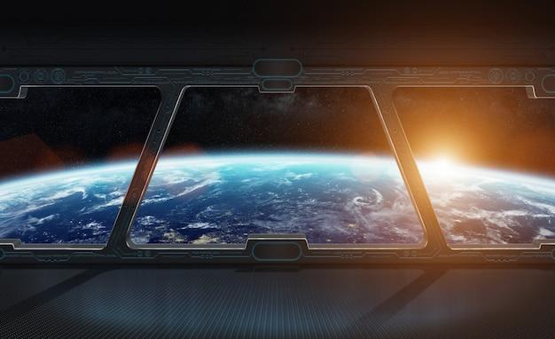 宇宙ステーションの3dレンダリングの内側からの地球の眺め Premium写真