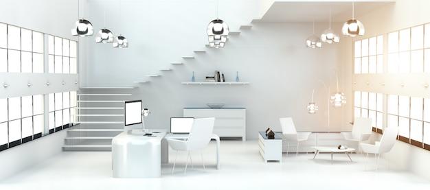 Современный белый офисный интерьер с компьютером и устройствами 3d-рендеринга Premium Фотографии