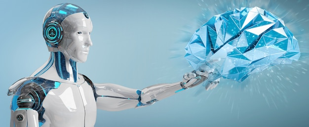 白人人型ヒューマノイド人工知能3dレンダリングの作成 Premium写真