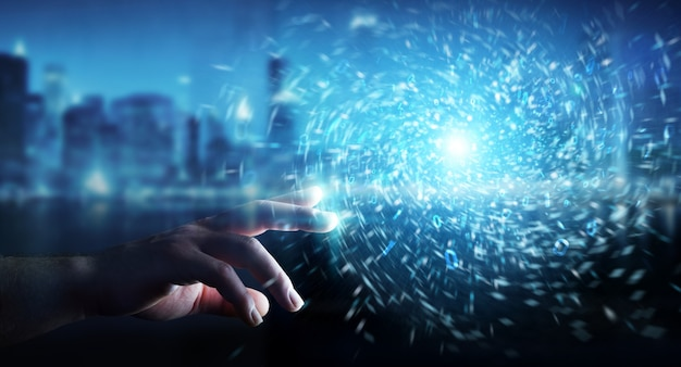 Бизнесмен создает новый футуристический источник энергии 3d-рендеринга Premium Фотографии