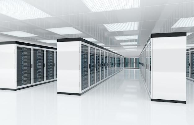 ホワイトサーバーはコンピューターとストレージシステムの3dレンダリングで部屋を中央に配置します Premium写真