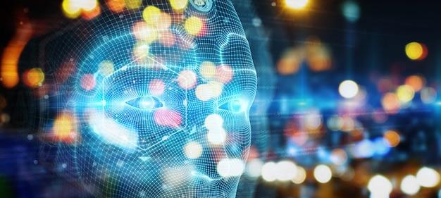Робот-человек киборг лицо, представляющее искусственный интеллект 3d-рендеринга Premium Фотографии