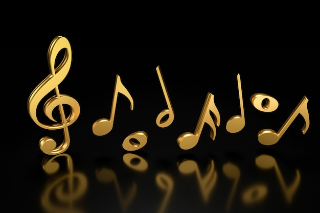 Скрипичный ключ и нотная запись. 3d-рендеринг. Premium Фотографии