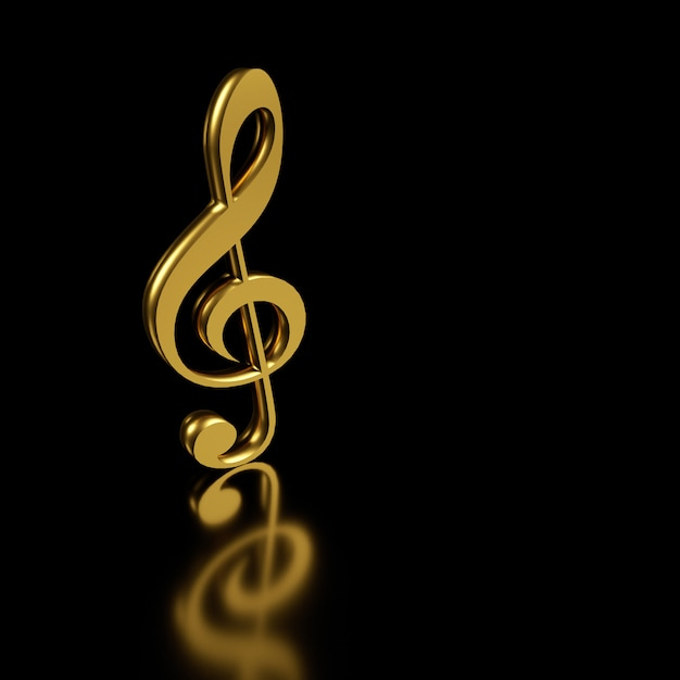 Золотой скрипичный ключ. 3d-рендеринг. Premium Фотографии