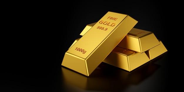 Золотые слитки для сайта баннер. 3d-рендеринг золотых слитков. Premium Фотографии