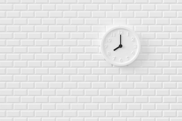 壁の時計の最小限の背景。 3dレンダリング。 Premium写真
