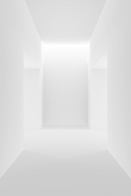 白のインテリアデザインの抽象的な背景。 3dレンダリング。 Premium写真