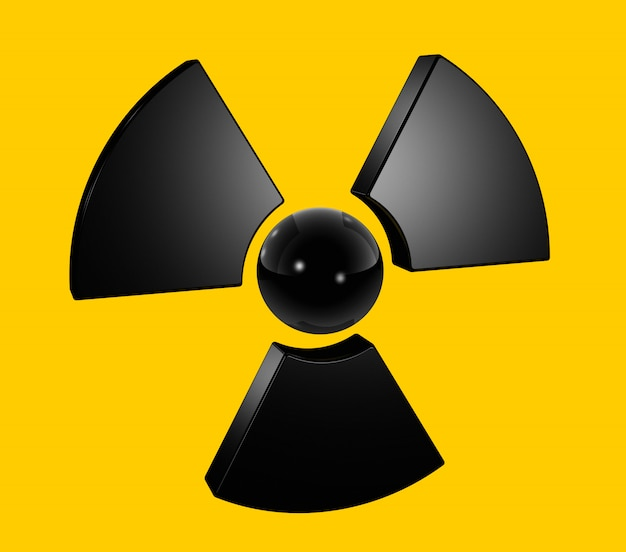 3d радиоактивный символ, изолированный на желтом Premium Фотографии