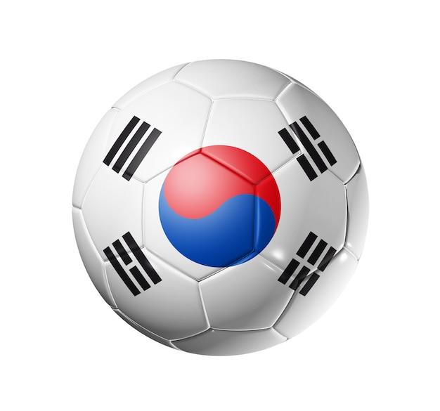韓国チームの旗、ワールドサッカーカップの3dサッカーボール。孤立した Premium写真