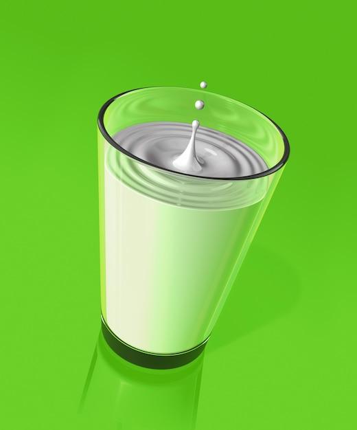 しぶきとガラスのさざ波を作るミルクの滴。 3dイラスト Premium写真