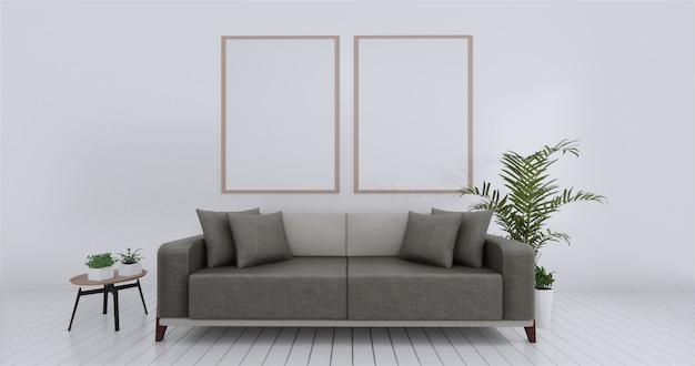 リビングルームの内壁は空の白をモックアップします。 3dレンダリング Premium写真