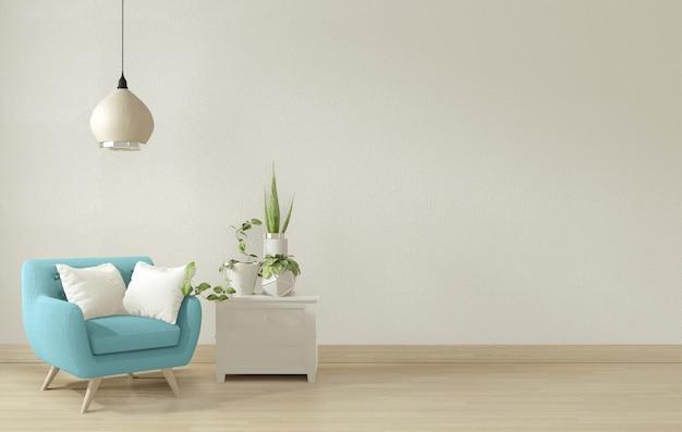 青い肘掛け椅子と装飾が施されたインテリアのリビングルーム。 3dレンダリング。 Premium写真