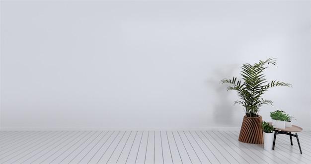 空の部屋の白い壁をモックアップします。 3dレンダリング Premium写真