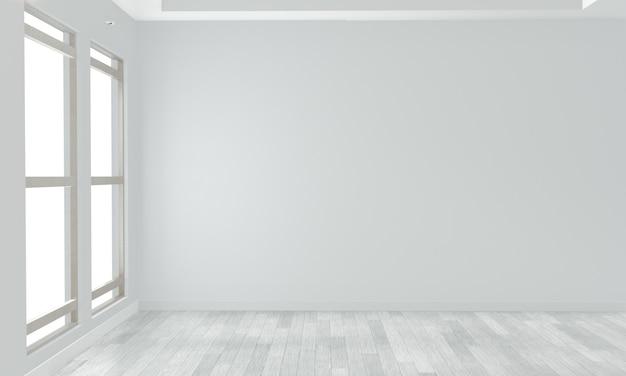 白い木の床に空の部屋白い壁。 3dレンダリング Premium写真