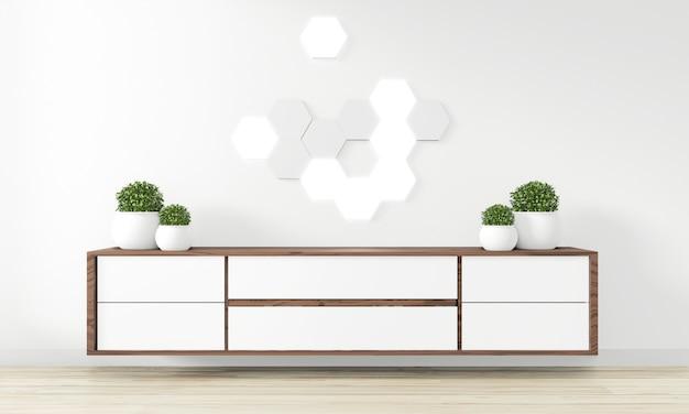 Шкаф деревянный дизайн в современной пустой комнате японский - стиль дзен, минимальный дизайн. 3d рендеринг Premium Фотографии
