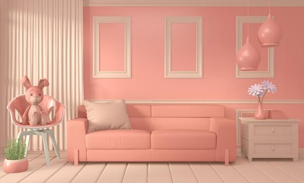 Кресло и отделка интерьера комнаты цвет живой коралловый стиль, 3d рендеринг Premium Фотографии
