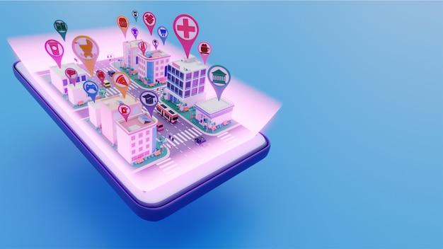 都市景観の3dビューは、スマートシティコンセプトの異なるロケーションサービスアプリとスマートフォンを接続しました。 Premium写真
