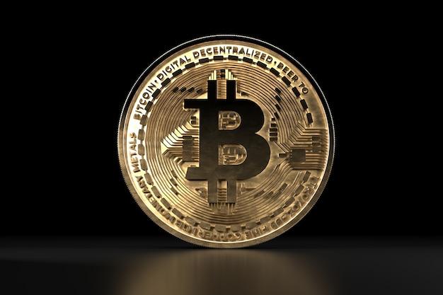 ビットコインゴールデンコイン、デジタル通貨。 3d暗号通貨。 Premium写真