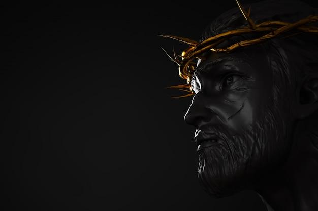 イエスキリストの彫像と金の王冠と棘の3dレンダリングサイドアングル空のスペース Premium写真