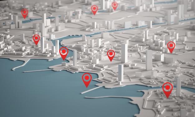 赤いポイントマップを使用した都市の建物の3dレンダリングの航空写真 Premium写真