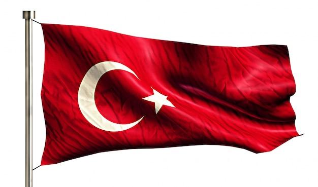 Турция национальный флаг изолированных 3d белый фон Бесплатные Фотографии