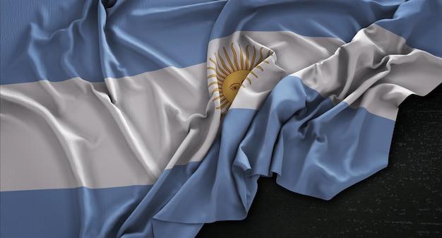 暗い背景にレンダリングされたアルゼンチンの旗3dレンダリング 無料写真