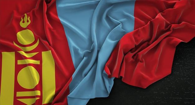 暗い背景にレンダリングされたモンゴルの旗3dレンダリング 無料写真