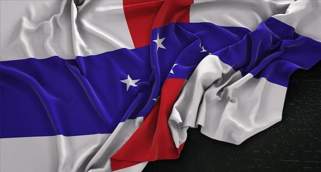暗い背景にレンダリングされたオランダ領アンティル諸島の旗3dレンダリング 無料写真
