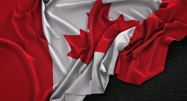 暗い背景にレンダリングされたカナダの国旗3dレンダリング 無料写真