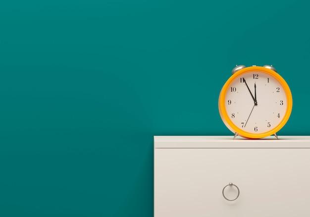 成功するビジネス要素。時間管理モックアップテンプレート黄色目覚まし時計部屋海色壁白い家具ベッドサイドテーブル。 3dイラスト Premium写真
