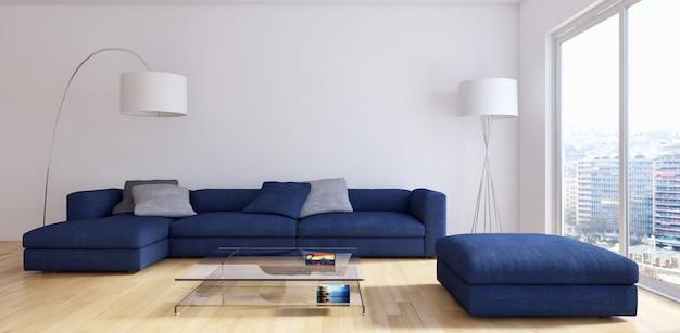Современная гостиная 3d визуализации Premium Фотографии