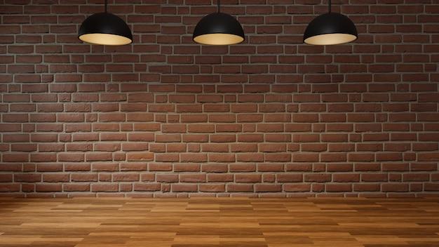 Пустая комната с полом кирпичной стены деревянным и современной потолочной лампой. интерьер в стиле лофт, 3d рендеринг. Premium Фотографии
