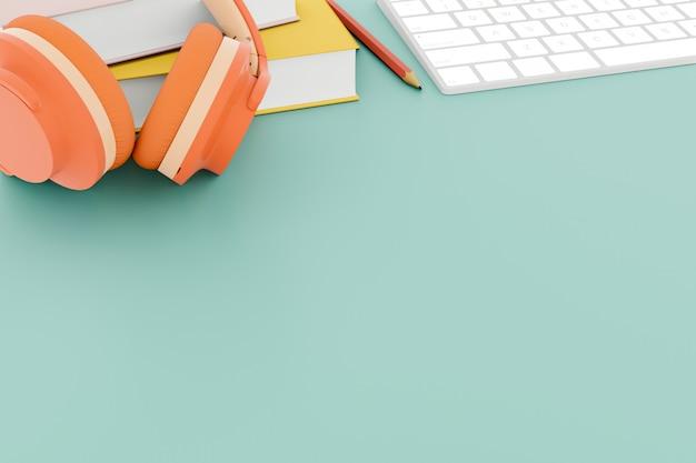 Наушники и книги на рабочем столе. 3d-рендеринг. Premium Фотографии