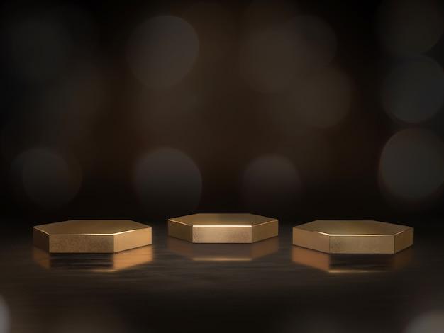 ディスプレイの黄金の台座、デザインのプラットフォーム、背景のボケ味を持つ空白の製品スタンド。 3dレンダリング。 Premium写真