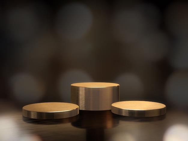 Золотой постамент для дисплея, платформа для дизайна, пустой продуктовый стенд с фоном боке. 3d-рендеринг. Premium Фотографии