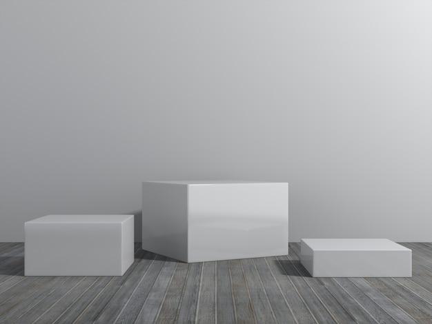 ディスプレイ用台座、デザイン用プラットフォーム、空の部屋を備えた空白の製品スタンド。3dレンダリング。 Premium写真