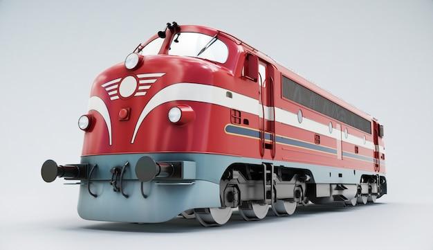 Носталигский поезд. тепловоз изолированный на белизне. 3d-рендеринг Premium Фотографии