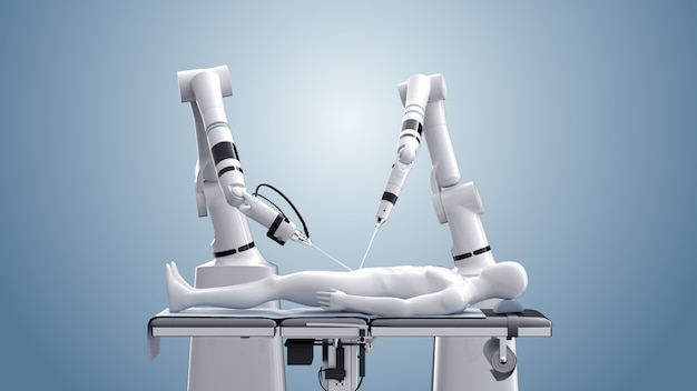 Медицинская роботизированная хирургия. современные медицинские технологии. роботизированная рука изолированная на сини. 3d рендеринг Premium Фотографии