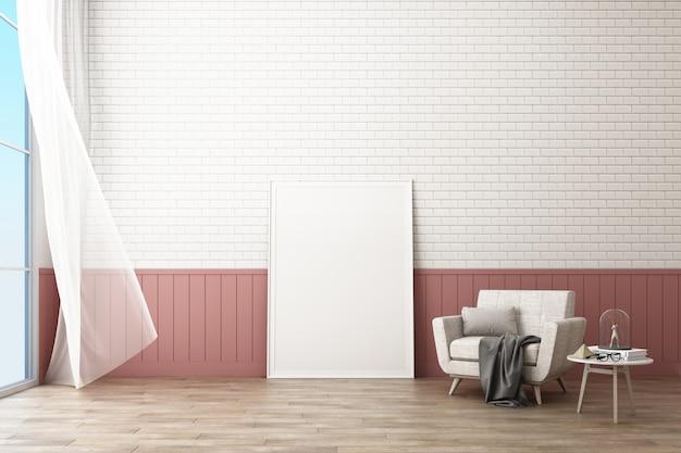 Кадр-афишу с кирпичной стеной и креслом в скандинавском стиле 3d рендера Premium Фотографии